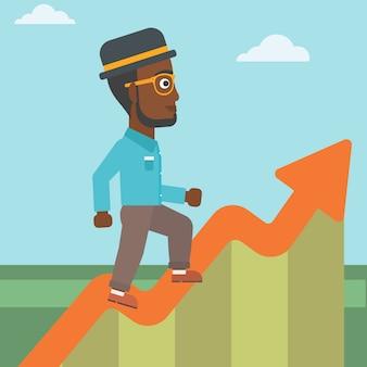 Uomo d'affari che corre lungo il grafico di crescita