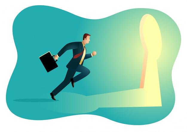 Uomo d'affari che corre verso un buco della serratura