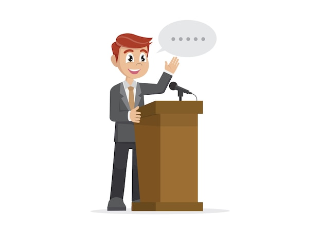 Uomo d'affari che dà un discorso al podio