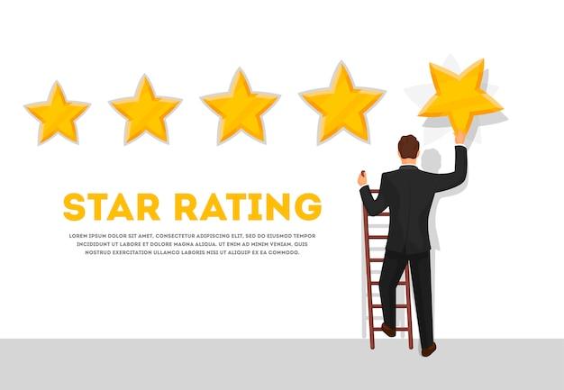 Uomo d'affari che dà un manifesto di valutazione a cinque stelle