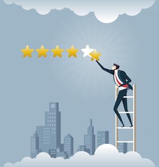 Uomo d'affari che dà una valutazione di cinque stelle - concetto di affari