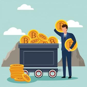 Uomo d'affari che elimina i bitcoin da un troller