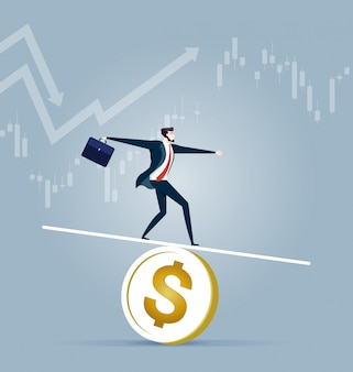 Uomo d'affari che equilibra su una moneta - concetto di affari