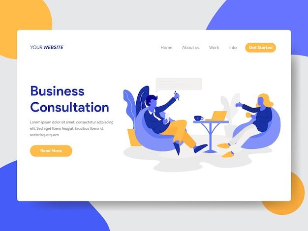 Uomo d'affari che fa l'illustrazione di consultazione di affari per la pagina del sito web