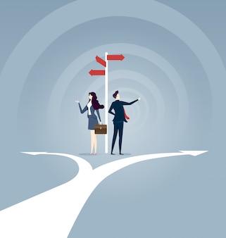 Uomo d'affari che fa la scelta migliore. illustrazione del concetto di business.