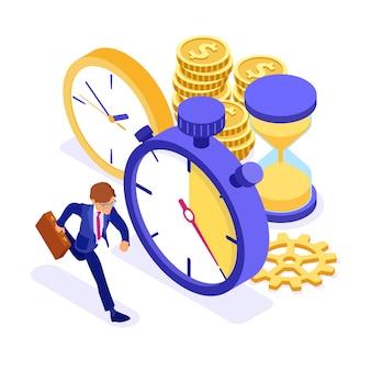 Uomo d'affari che funziona con l'illustrazione isometrica degli orologi e delle monete