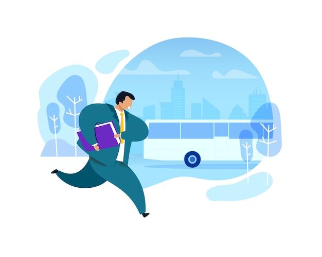 Uomo d'affari che funziona dopo l'illustrazione del bus