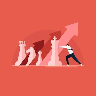 Uomo d'affari che gioca a scacchi per marketing aziendale, crescita e strategia