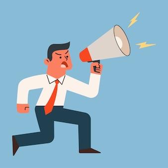 Uomo d'affari che grida e che grida con il megafono, illustrazione del fumetto di vettore.