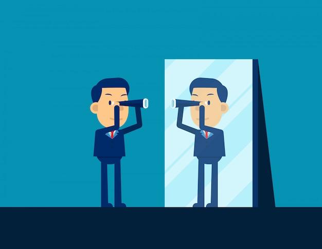 Uomo d'affari che guarda telescopio e che riflette in specchio