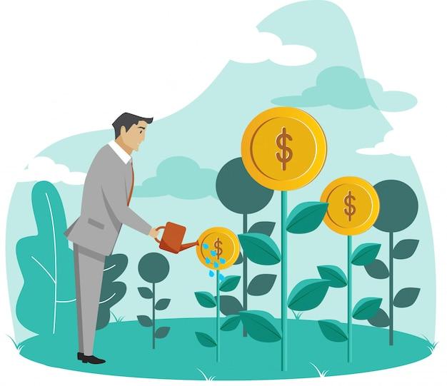Uomo d'affari che innaffia le piante dei soldi