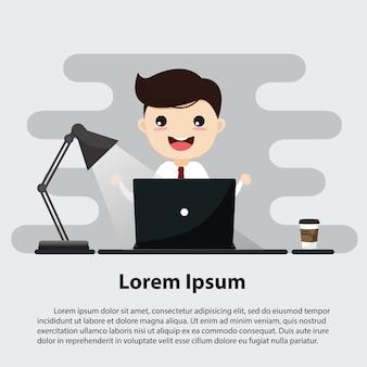 Uomo d'affari che lavora con il computer portatile nell'area di lavoro. modello di testo di esempio