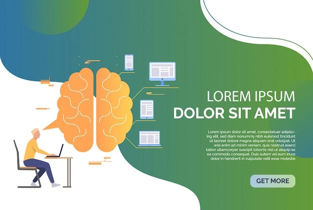 Uomo d'affari che lavora su laptop, cervello, dispositivi e testo di esempio