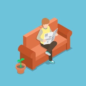 Uomo d'affari che legge un giornale sul sofà