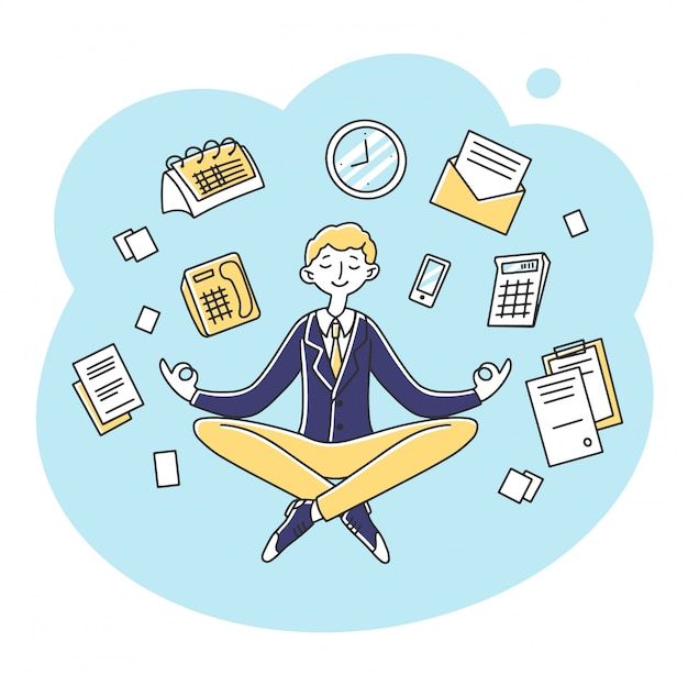 Uomo d'affari che medita all'illustrazione del posto di lavoro