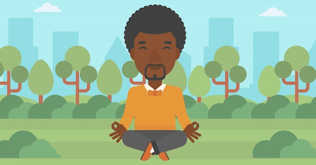 Uomo d'affari che medita nella posa del loto.