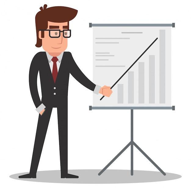 Uomo d'affari che mostra una presentazione sul bordo bianco