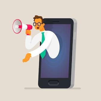 Uomo d'affari che parla in un megafono attraverso lo schermo del telefono. il concetto di marketing digitale, pubblicità