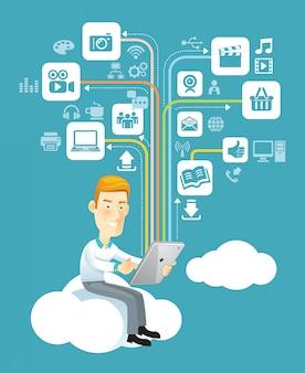 Uomo d'affari che per mezzo di una compressa che si siede su una nuvola con i media sociali