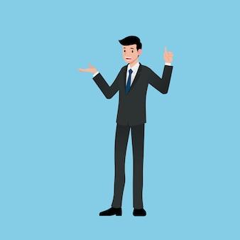 Uomo d'affari che presenta qualsiasi cosa sulla sua mano