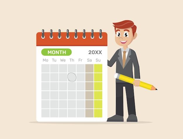 Uomo d'affari che progetta sul calendario con la matita.