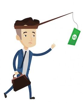 Uomo d'affari che prova a catturare soldi sulla canna da pesca.