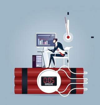 Uomo d'affari che prova a finire il lavoro in tempo. concetto di business scadenza