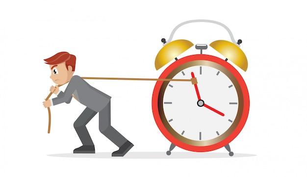 Uomo d'affari che prova a rallentare e fermare il tempo.