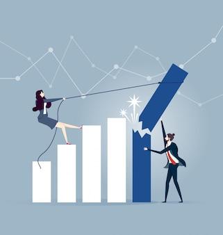 Uomo d'affari che prova a tenere la barra del grafico di tasso di crescita di rottura e di caduta