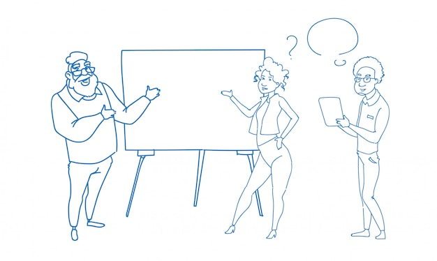 Uomo d'affari che punta a lavagna a fogli mobili vuota seminario formazione conferenza uomini d'affari gruppo brainstorming doodle schizzo di presentazione