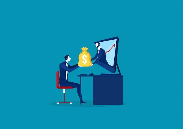 Uomo d'affari che riceve soldi dal computer portatile