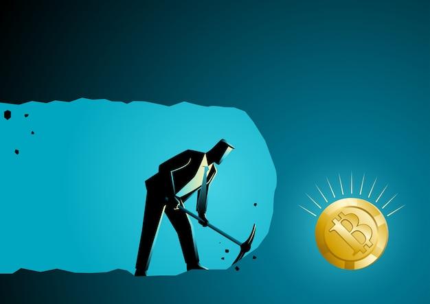 Uomo d'affari che scava e che estrae per trovare bitcoin