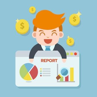 Uomo d'affari che segnala sulla presentazione di web browser con l'icona della moneta e del grafico dei soldi