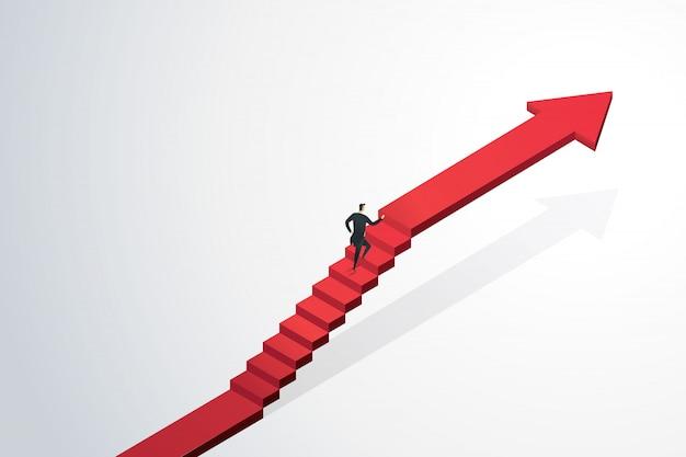 Uomo d'affari che si precipita su per la freccia delle scale verso l'obiettivo e il successo dell'obiettivo. concetto di affari