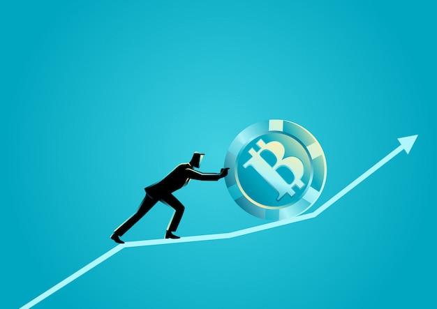 Uomo d'affari che spinge un bitcoin verso l'alto sul grafico grafico