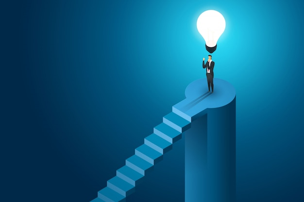 Uomo d'affari che sta sotto la soluzione di concetto della lampadina e la visione creative, successo di ambizione. illustrazione isometrica piatta