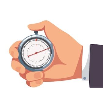 Uomo d'affari che tiene pollice sul cronometro