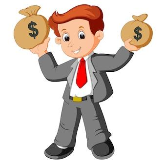 Uomo d'affari che tiene sacchetto di soldi