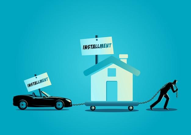 Uomo d'affari che trascina una casa e un'automobile convertibile