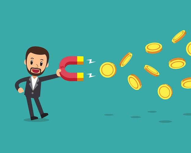 Uomo d'affari che utilizza un magnete per attirare denaro