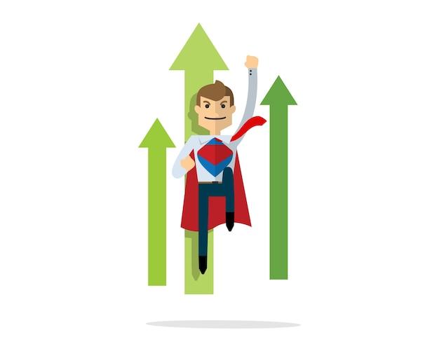 Uomo d'affari che vola come superman, supereroe