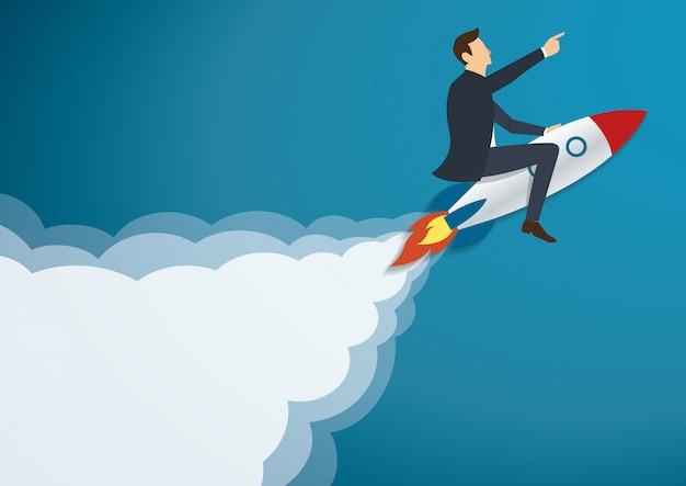 Uomo d'affari che vola con un razzo