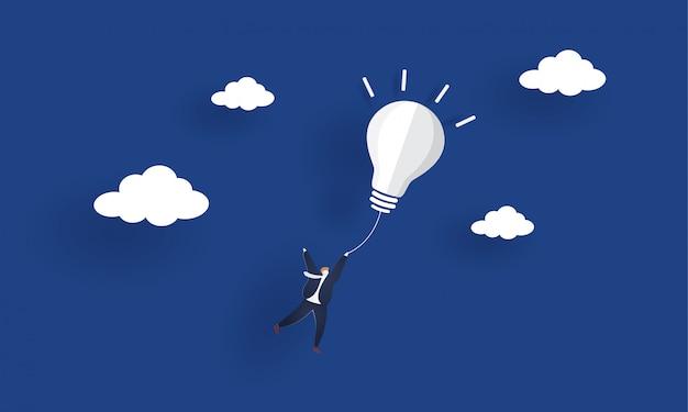 Uomo d'affari che vola fuori dalla lampadina dell'idea. illustrazione di concetto di ispirazione