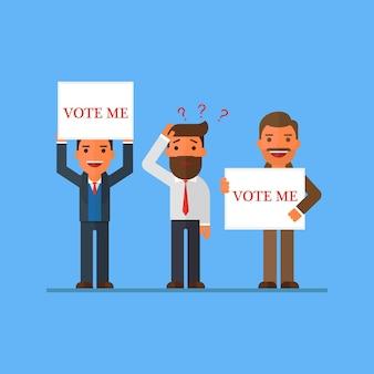 Uomo d'affari che vuole il suo voto