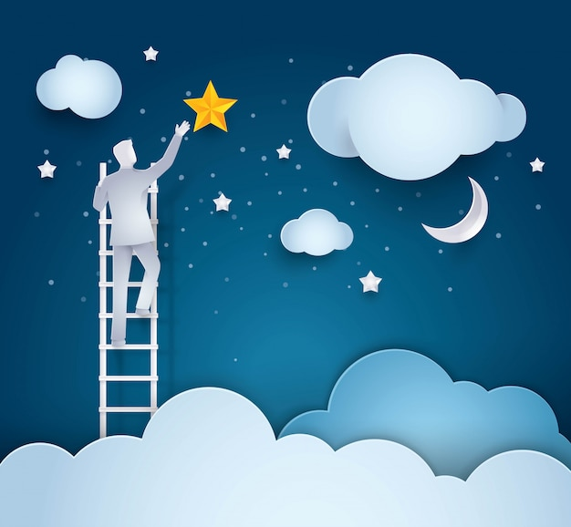 Uomo d'affari climbing ladder per raggiungere la stella nel cielo