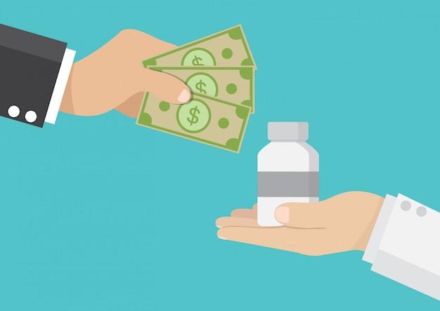 Uomo d'affari comprare farmaci dai medici