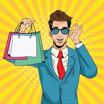 Uomo d'affari con borse della spesa e occhiali da sole in stile pop art
