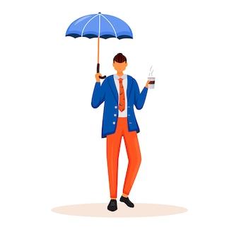 Uomo d'affari con carattere ombrello