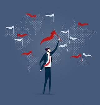 Uomo d'affari con i segni del punto della bandiera sulla mappa di mondo. vettore concetto aziendale