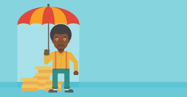 Uomo d'affari con i soldi proteggenti dell'ombrello